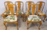 SOLD - Set of Six Light Walnut Queen Anne Style Dining Chairs